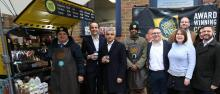 Mayor of London and LEAP Chair with Change Please founders and baristas